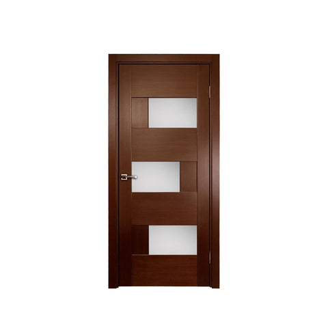 WDMA Brown Color Wooden Interior Glass Door Flush Door Design Modern House Door