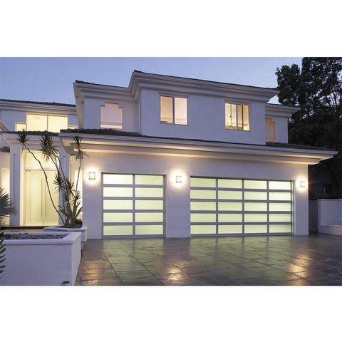 WDMA Cheap 8x7 Insulated Clear frosted Glass Garage Door Aluminium Remote Control Residential Security Exterior Price