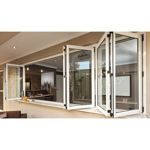 WDMA Cheap Aluminium Bifold Window Aluminum Horizontal Accordion Folding Window For Kitchen Price