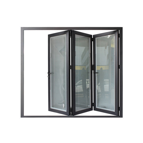WDMA Cheap Aluminium Exterior Bi Fold Folding Window Door Double Glaze Glass Accordion Door With Locks
