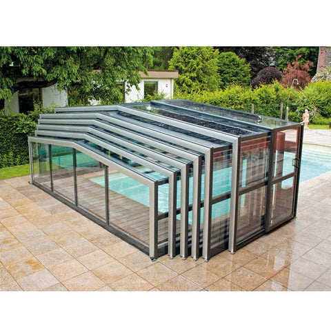 WDMA Cheap Retractable Aluminium Cover Sliding Swimming Pool Roof Cover Enclosures