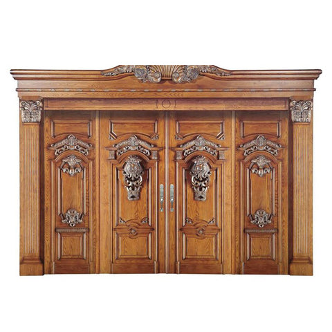 WDMA China Main Double Door Wooden Main Entrance Door Carving Design