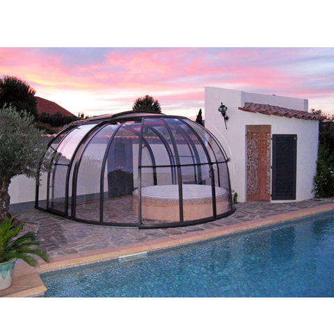 WDMA Commercial Polycarbonate Aluminum Swimming Pool Dome Cover Roof Retractable Enclosure