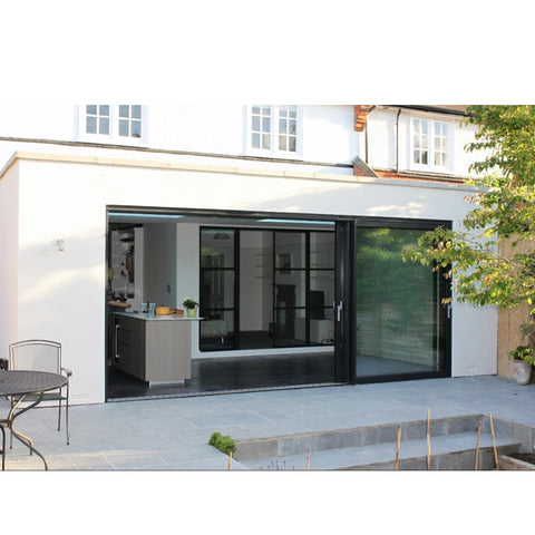 WDMA Commercial Price Of Aluminum Multi Slide Tempered Glass Main Entrance Door For Nigeria Market