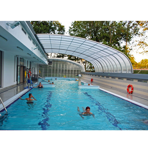 WDMA Curved Glass Sunrooms Polycarbonate Swimming Pool Safety Cover For Australia Market