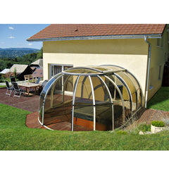 China WDMA Curved Glass Sunrooms Polycarbonate Swimming Pool Safety Cover For Australia Market
