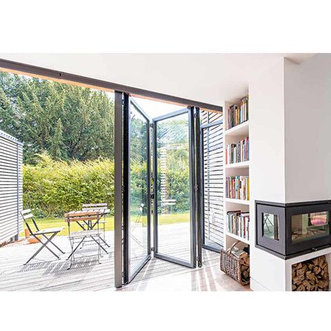 WDMA Double Glazed Aluminium Accordion Sliding Folding Doors With Retractable Flyscreen