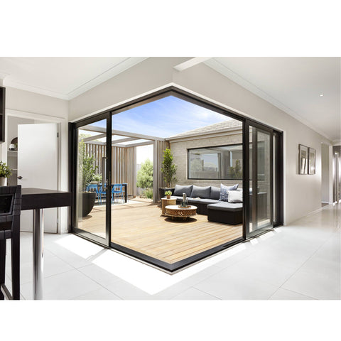 WDMA Exterior Conceal Stacking Sliding Door External Wall Balcony Slim Aluminium Corner Sliding Glass Door