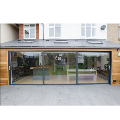 WDMA Exterior Outdoor Heavy Duty 3 Three Panel Aluminium Triple Glass Sliding Patio Door System For Terrace And Balcony