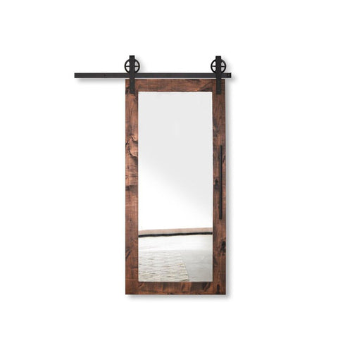WDMA Exterior Wood Sliding Barn Door Partition Door With Mirror System