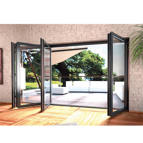 WDMA Factory Sale Shop Folding Doors Shatterproof Glass Semi-automatic Sliding Door