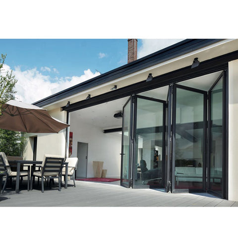 WDMA Fancy European Style Curved Glass Sliding Folding Door Aluminium Framed Glass Door Exterior Modern