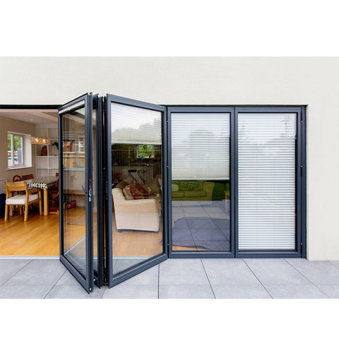 WDMA Folding Open Style And Exterior Position Aluminium Bi-fold Glass Door Design Price