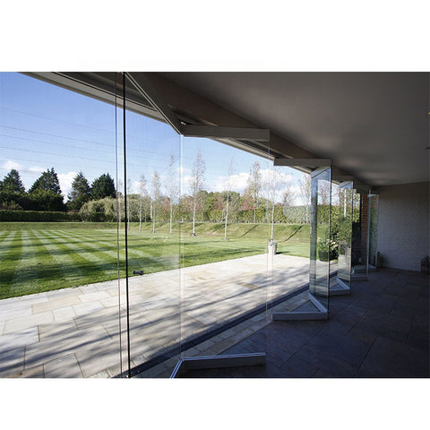 WDMA Frameless Toughened Glass Bifold Sliding Folding Doors Exterior