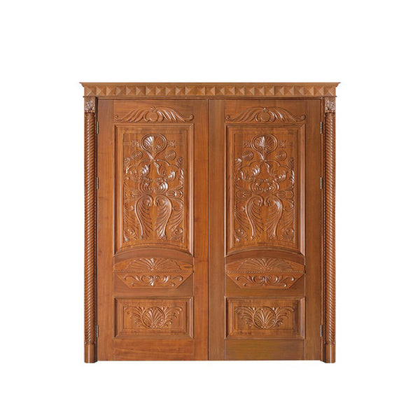 WDMA French Wooden Door Exterior Teak Wood Double Main Double Door Designs Wood Doors