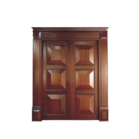 WDMA French Wooden Door Wood Panel Main Exterior Double Door
