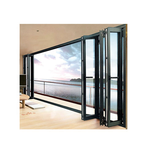 WDMA Grey External Aluminium Bi Folding Sliding Glass Doors