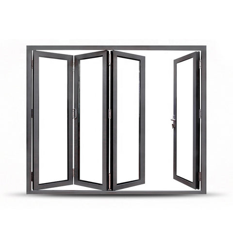 China WDMA Grey Aluminium Glass Folding Door