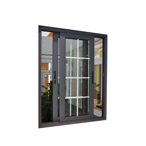 WDMA Guangzhou Wood Look Finish Aluminium Sliding Wood Window Door With Mosquito Net Grill Design