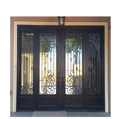 WDMA House Front Door Double Main Door Grill Design With Sidelight Wrought Iron Door