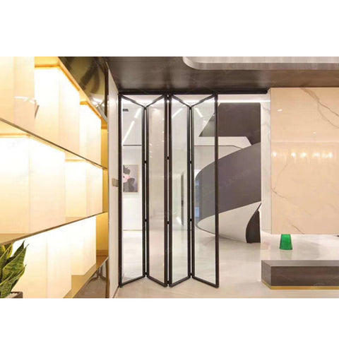 WDMA House Interior Slim Framed Aluminum Bi Folding And Sliding Glass Panel Doors Interior 84x80