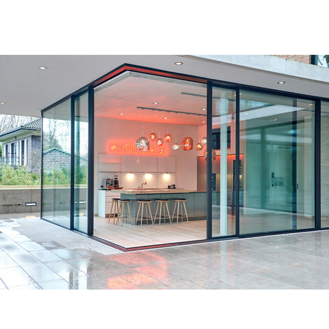 WDMA Hurricane Impact Florida Building Code Tempered Glass Aluminum Profile Basement Corner Sliding Door