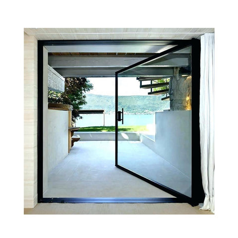 WDMA Interior Exterior Entry Aluminium Metal Pivot Front Glass Door System