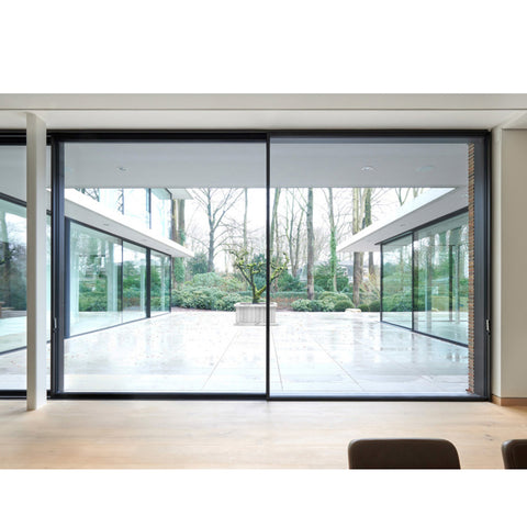 WDMA Large Outdoor Electric Automatic Sensor Aluminium Glass Sliding Gate Door