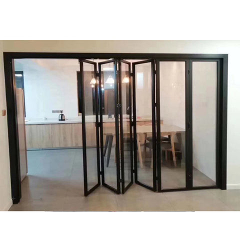 WDMA Latest Designs Front Exterior Folding Door China Bi Fold Balcony Sliding Glass Door Design