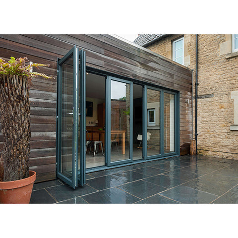 WDMA Luxury Aluminium Frame 3 Panels Folding Sliding Patio Glass Door System