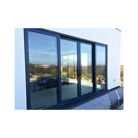 WDMA Luxury Hurricane Proof Heavy Duty Main Entrance 4 Panel Powder Coated Aluminium Frame Sliding Glass Door