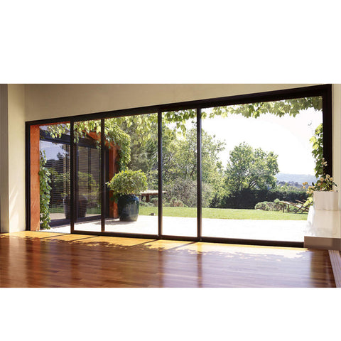 WDMA Luxury Hurricane Proof Heavy Duty Main Entrance 4 Panel Powder Coated Aluminum Frame Sliding Glass Doors
