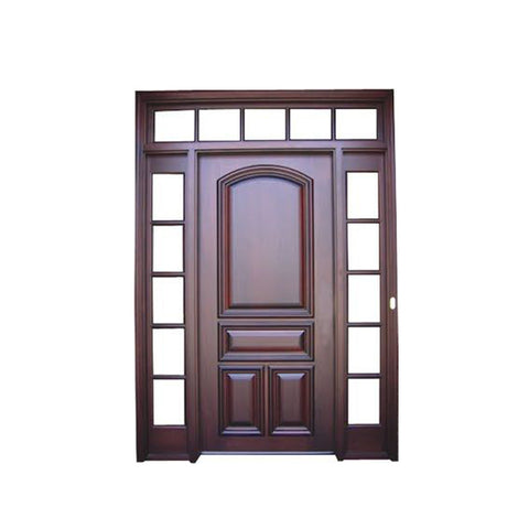 WDMA Main Solid Wood Exterior Door With Glass Carving Design