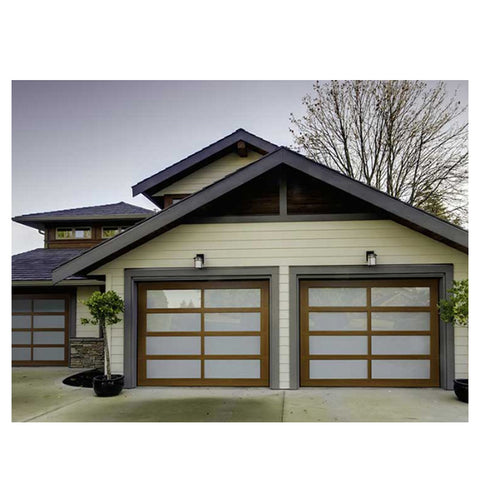 WDMA Modern Design Easy To Install Aluminum Roll Up 9x8 Folding Cheap Frosted Glass Garage Door
