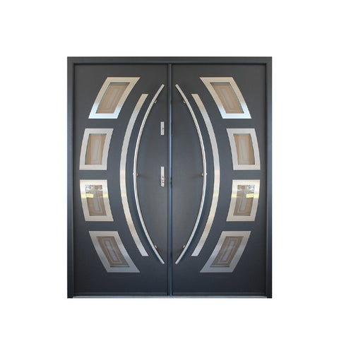 WDMA Modern Main Metal Front Door Iron Doors Double Entrance Design