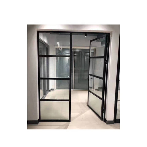 WDMA Nigeria Flush Swing Bedroom French Window And Door Design With Aluminium Frosted Tempered Glass Exterior For Sale