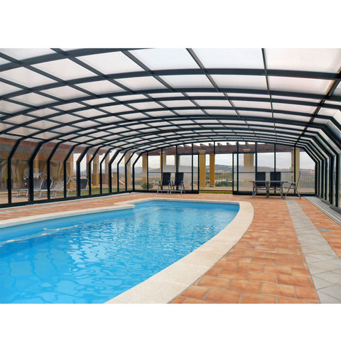WDMA Outdoor Retractable Aluminum Swimming Pool Glass Roof Cover Enclosure