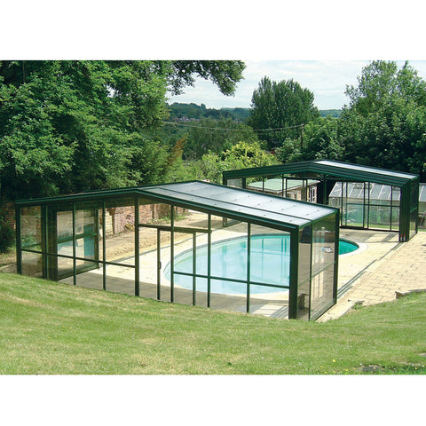 WDMA Outdoor Swimming Pool Cover Enclosures Telescopic Aluminium Sunroom Roof