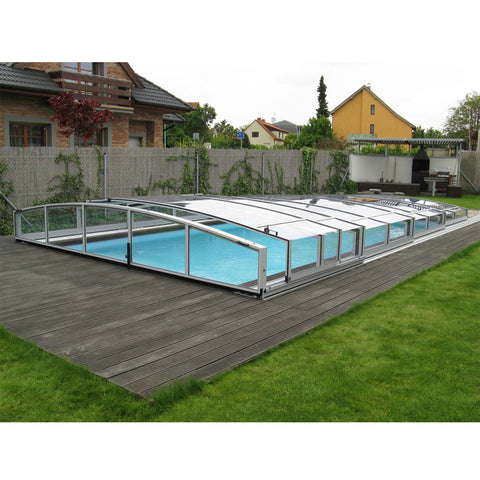 WDMA Polycarbonate Glass Swimming Pool Cover Aluminum Sliding Pool Roof Swimming Pool Cover