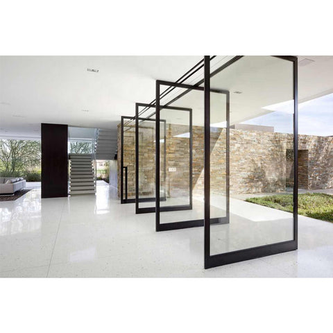 WDMA Sandblasting Aluminium Tempered Mall Glass Single Leaf Pivot Door For Front Meeting Room Pakistan