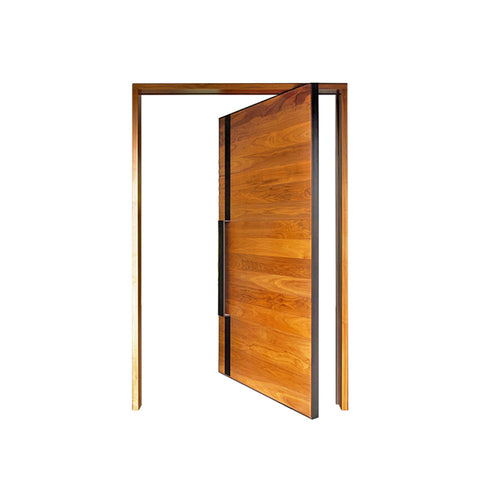 WDMA Shandong Manufacture 180 Degree Hinge Solid Wooden Pivot Door