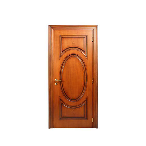 WDMA Solid Main Exterior Door Wood With Glass Carving Design