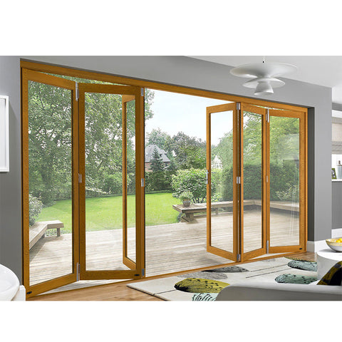 WDMA Soundproof Thermal Break Wooden Color Luxury Exterior Patio Lowes Glass Accordion Aluminium Bi-fold Doors