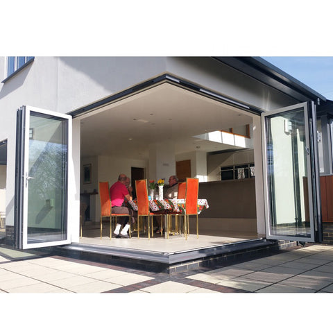 WDMA Standard Width Aluminium Alloy 4 Panel Balcony Sliding Tempered Glass Exterior Front Bifold Folding Entrance Door Window
