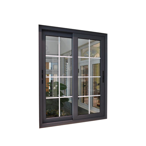 WDMA Strong Frame Double Tempered Glass Sliding Window With Iron Window Grill Design For Sales