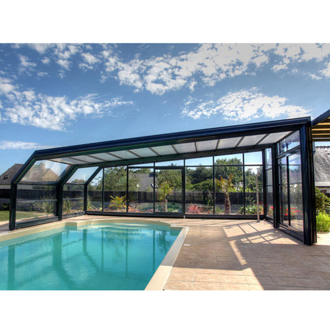 WDMA Swimming Pool Cover Polycarbonatesliding Glass Aluminum Frame Pool Sunroom