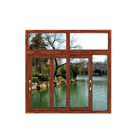 WDMA Wooden Grain Aluminium Triple Glass Bedroom 4 Panel Sliding Window