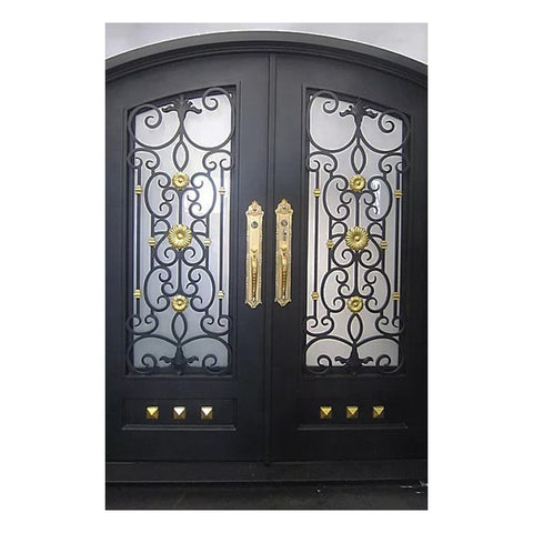 wholesale affordable grill design outdoor double black wrought iron entrance doors decorative clark hall on China WDMA