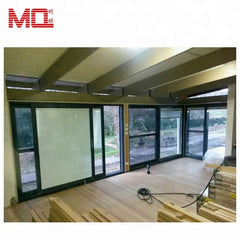 wood grain aluminum glass sliding door with built-in blinds on China WDMA