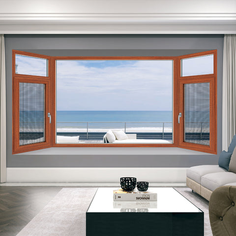 wood grain aluminum hung window double pane casement hung windows on China WDMA